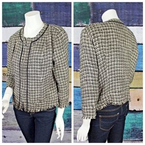 BCBGMAXAZRIA Tweed Fringe Hem Zip Front Blazer